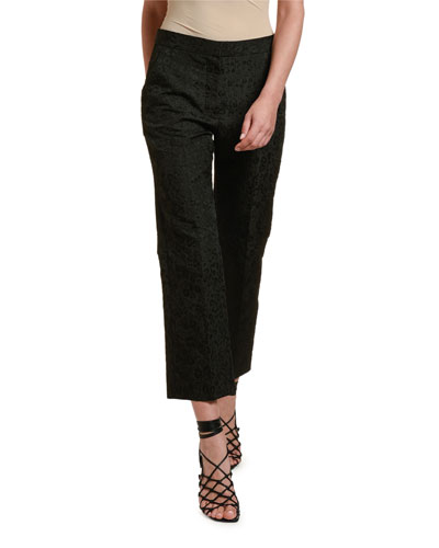 Leopard Jacquard Cropped Trousers