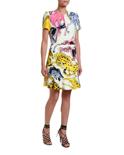 Watercolor Horse-Print Jersey Dress
