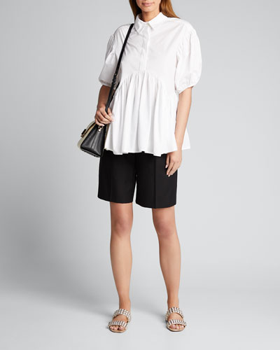 Cotton Twill Pleated Safari Shorts
