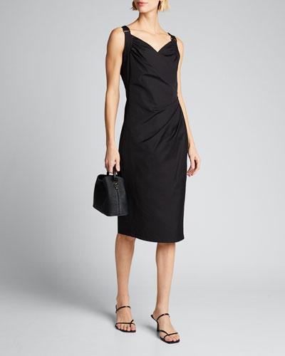 Cotton Poplin Ruched Dress