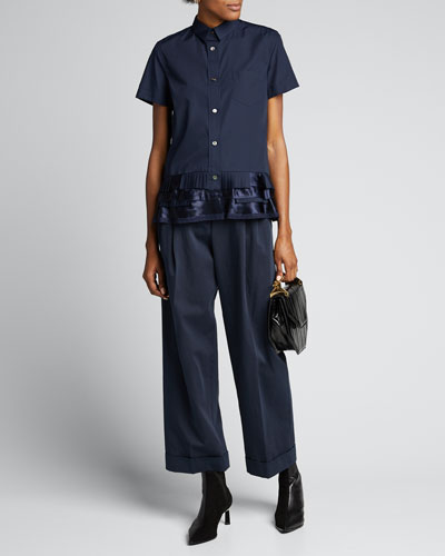 Short-Sleeve Button-Down Ruffled-Hem Shirt