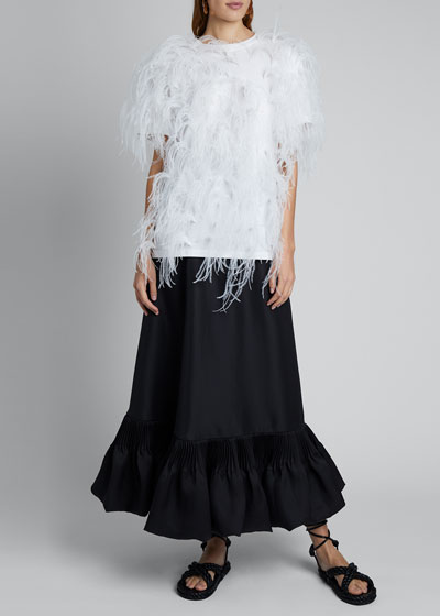 Short-Sleeve T-shirt With Feathers