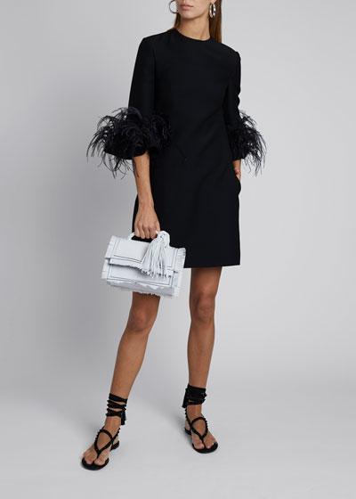 Feather-Cuff Shift Dress