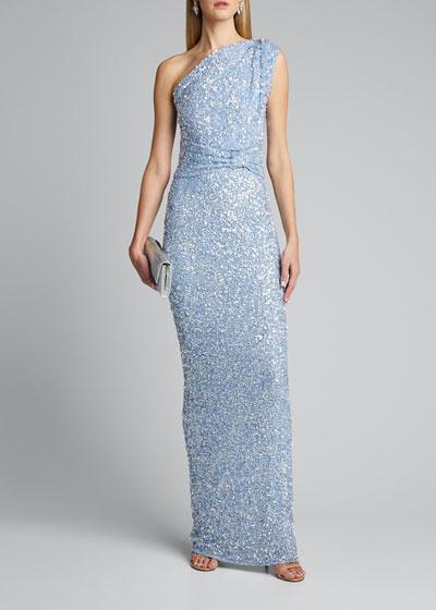 Embellished One-Shoulder Gown
