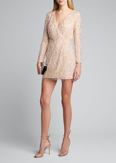 Embellished Long-Sleeve Dress