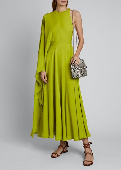 Cape One-Shoulder Midi Dress