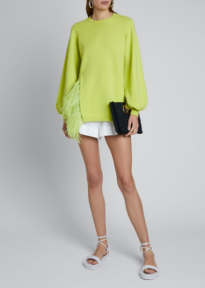 Long-Sleeve Puff Short Feathered-Side Sweater
