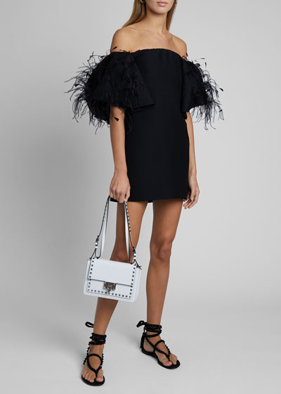 Off-the-Shoulder Feather-Trim Mini  Dress