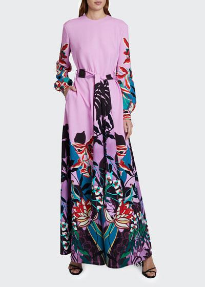Placed Floral Print Tie-Waist Jumpsuit