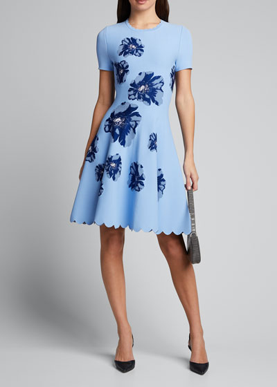 Floral Short-Sleeve Fit And Flare Dress