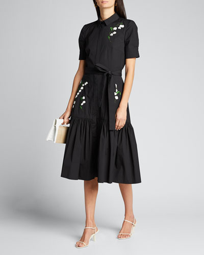 Embroidered Tie-Waist Shirtdress