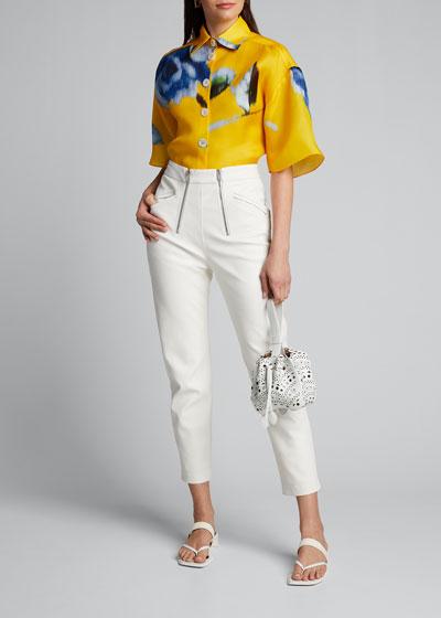 Silk Button-Front Shirt