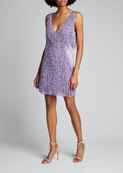 Beaded Fringe Sleeveless Deep V Cocktail Dress