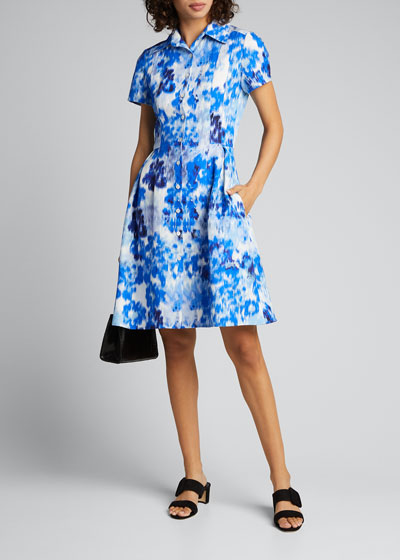 Floral Print Short-Sleeve Shirtdress