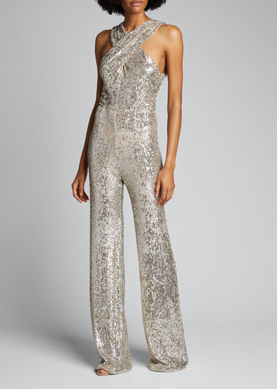 Sequined Crossover Wide-Leg Jumpsuit