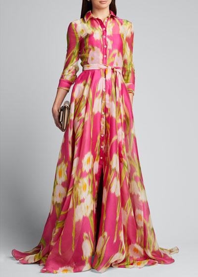Floral Print Silk Shirtdress