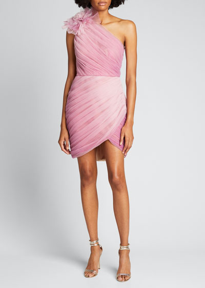 Ombre Draped Tulle Cocktail Dress with Floral Detail