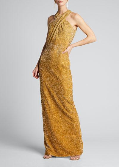 Signature Sequin Halter-Neck Column Gown