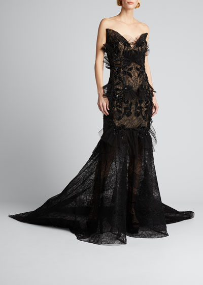 Floral Embroidered Lace Applique Gown