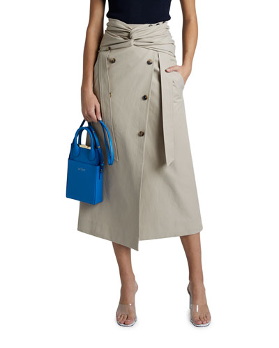 High-waist Twist Wrap Midi Skirt