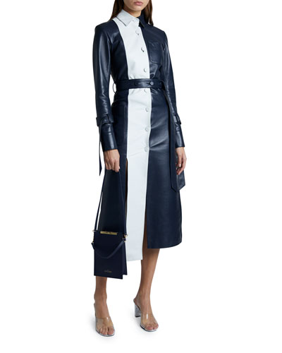 Leather Panel Long-Sleeve Collared Dress