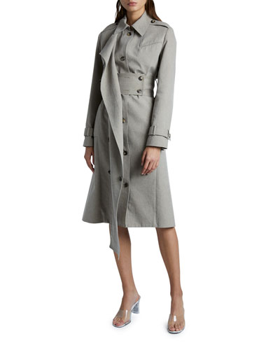 Long-Sleeve Belted Trench Coat