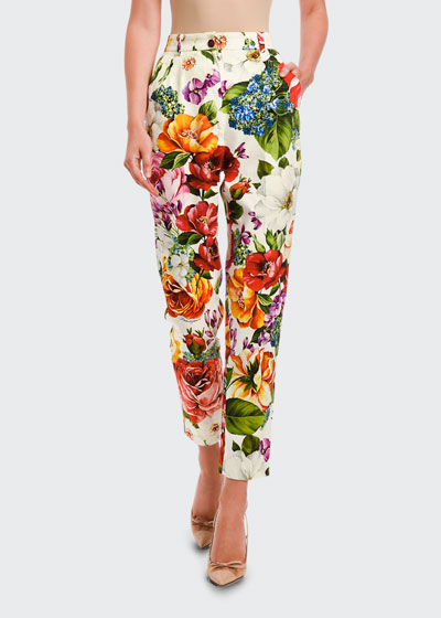 Vibrant Floral Slim-Leg Pants