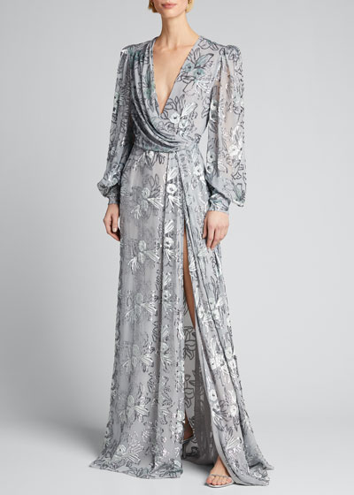 Floral Velvet Sheer-Sleeve Gown