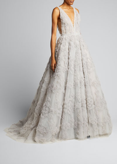 V-neck Tulle Gown with Ruffled Pattern & Embroidery