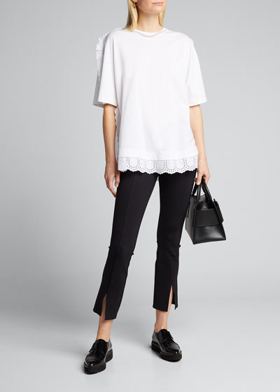 Lace blouse with contrast edging frill detail and bow embellish size 8-14 casual