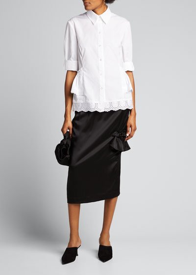 Satin Side-Frill Midi Skirt
