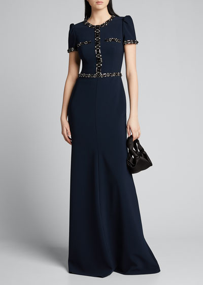 Jewel-Tipped Cap-Sleeve Column Gown