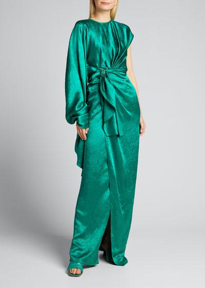 Crinkled Satin One-Shoulder Gown
