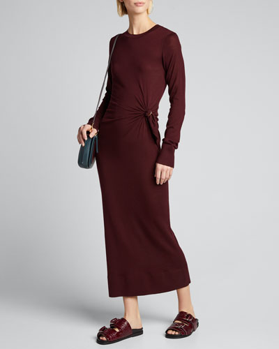 Wool Long-Sleeve Crew Side-0Gathered Dress