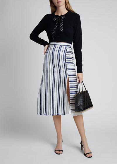Merino-Cashmere Knit Tie-Neck Cardigan