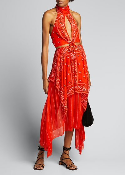 Bandana-Print Halter Dress