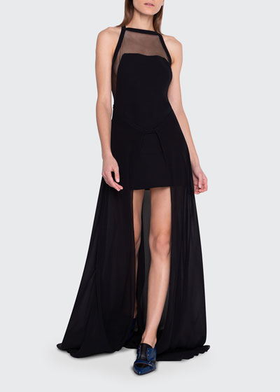 Asymmetric Illusion Halter Gown