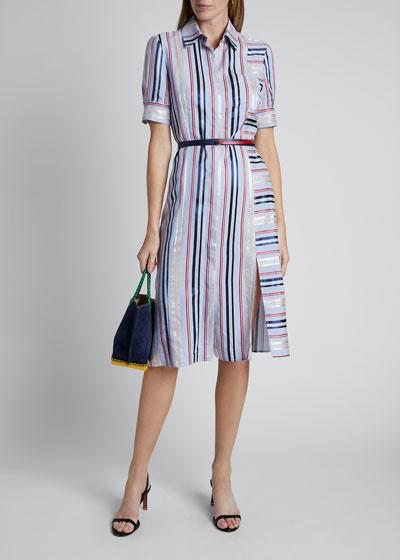 Stripe-Blocked Short-Sleeve Shirtdress