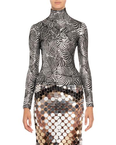 Silver Leaf Print Turtleneck Sweater