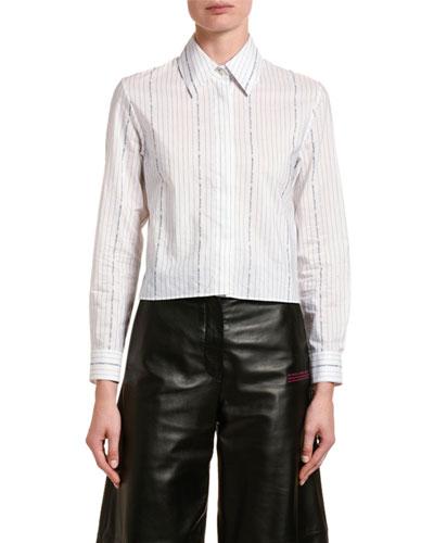 Cotton Poplin Crop Shirt