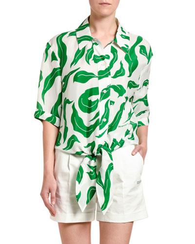 Leaf Print Satin Baseball-Knotted Shirt