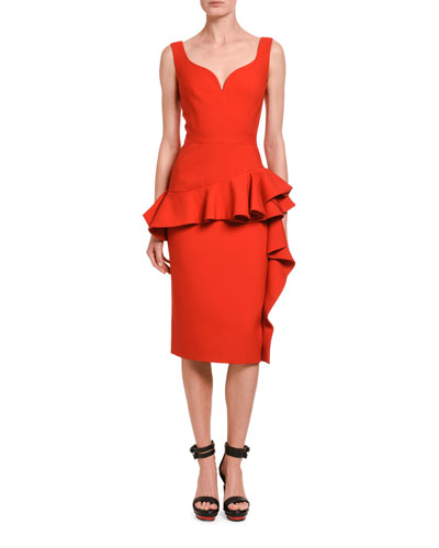 Wool-Silk Sweetheart-Neck Ruffle Front Dress