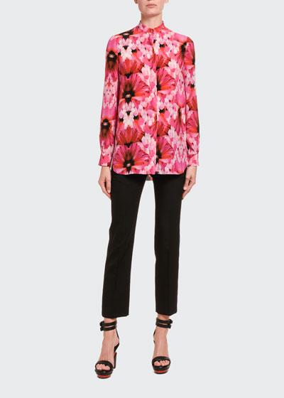 Floral Silk Button-Front Shirt