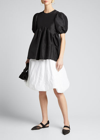 Taffeta Puff-Sleeve Open-Back Blouse