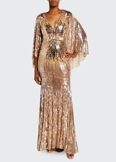 Hennie Sequined Flutter-Sleeve Gown