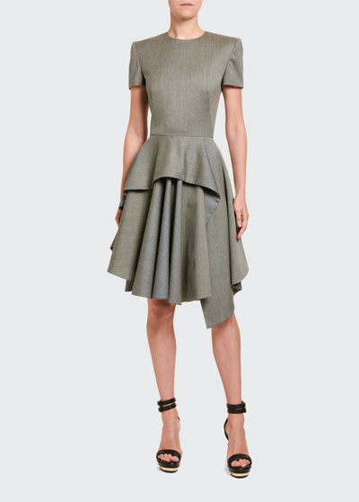 Textured Suiting Peplum Cocktail Dress