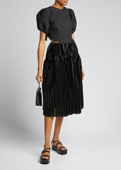 High-Waist Textured Sateen Midi Skirt
