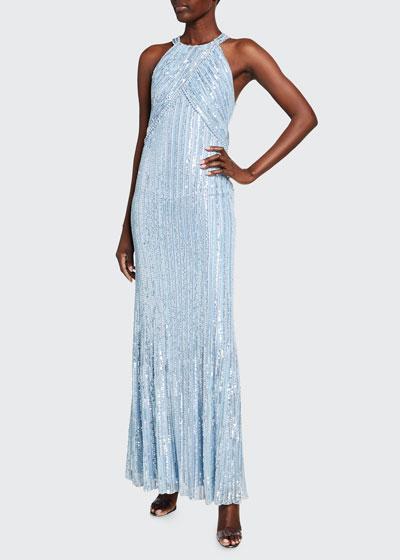 Ila Sequin-Striped Halter-Neck Gown