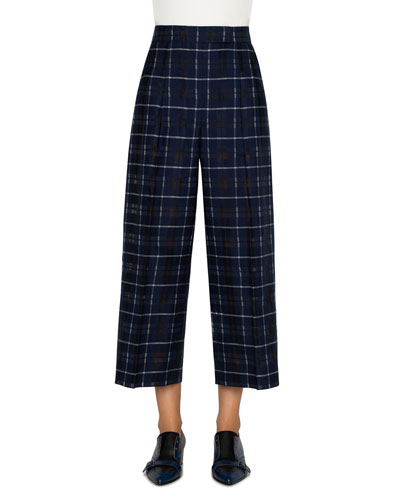 Fira Plaid Pleated-Front Pants