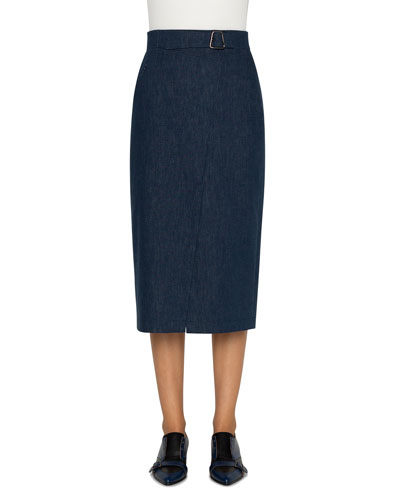 Cotton Denim Stretch Faux-Wrap Belted Midi Skirt